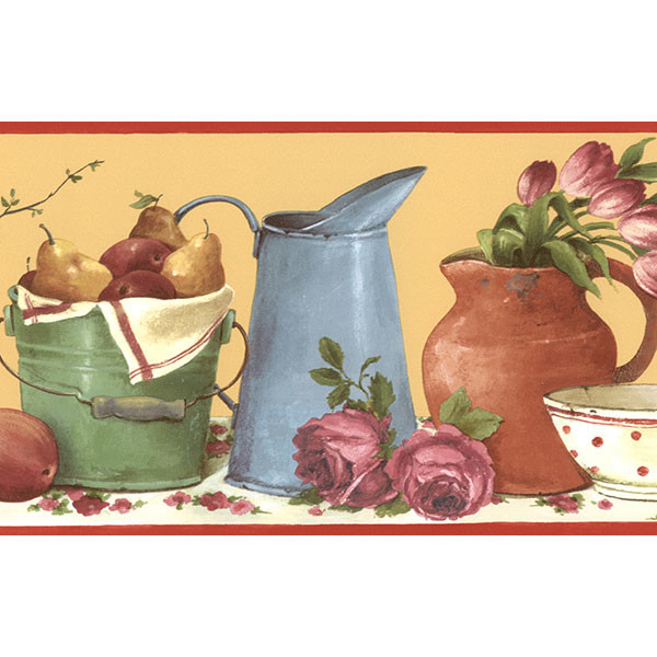 country kitchen picnic border in autum hues wallcovering
