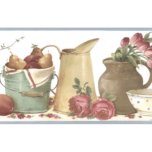 country kitchen picnic border with white background wallcovering