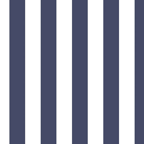 Navy and white Regency stripe wallcovering