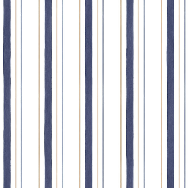Navy, taupe and white stripe wallcovering