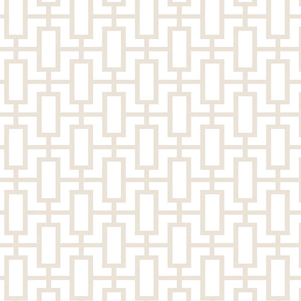 Taupe and white geometric wallcovering