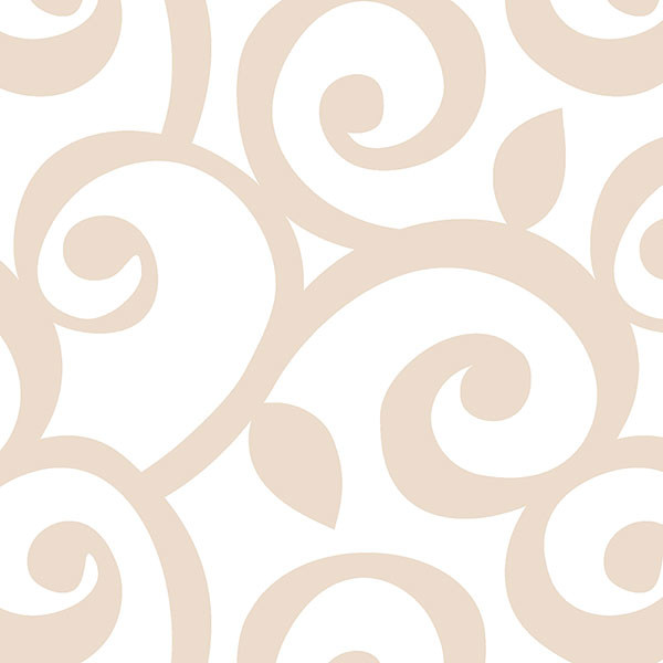 taupe and white swirls wallcovering