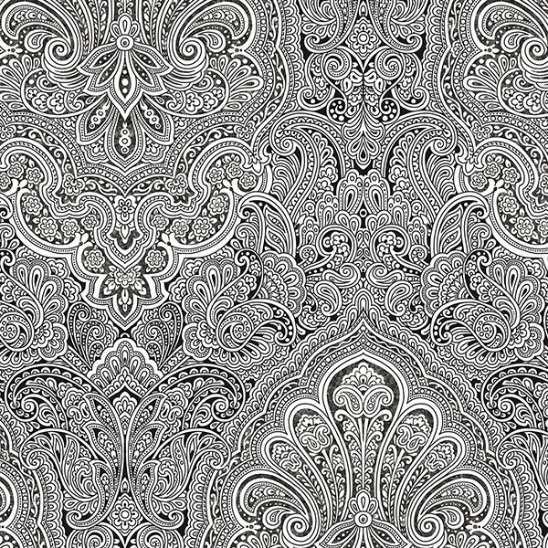 Black and white paisley wallcovering