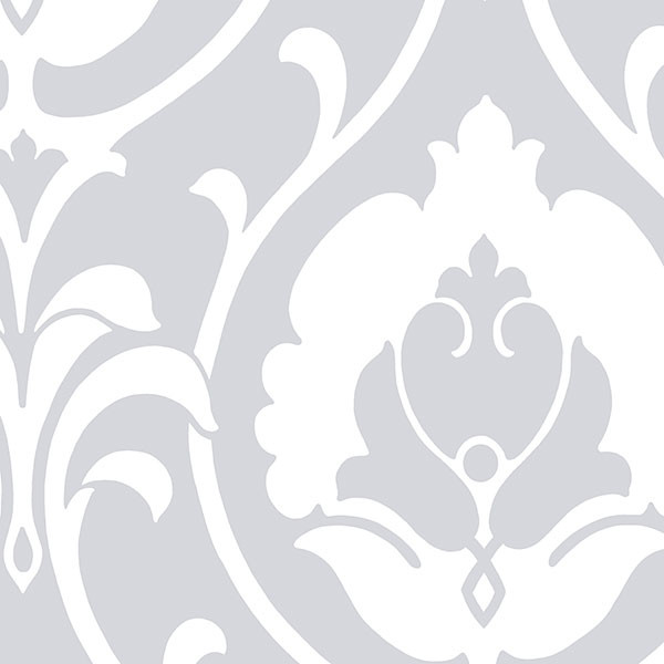 grey and white damask wallcovering
