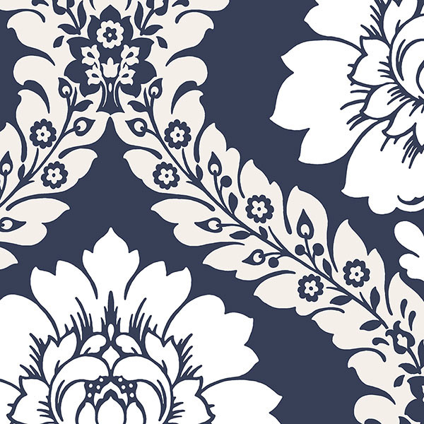 Navy and white damask wallcovering