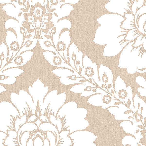 Taupe and white damask wallcovering