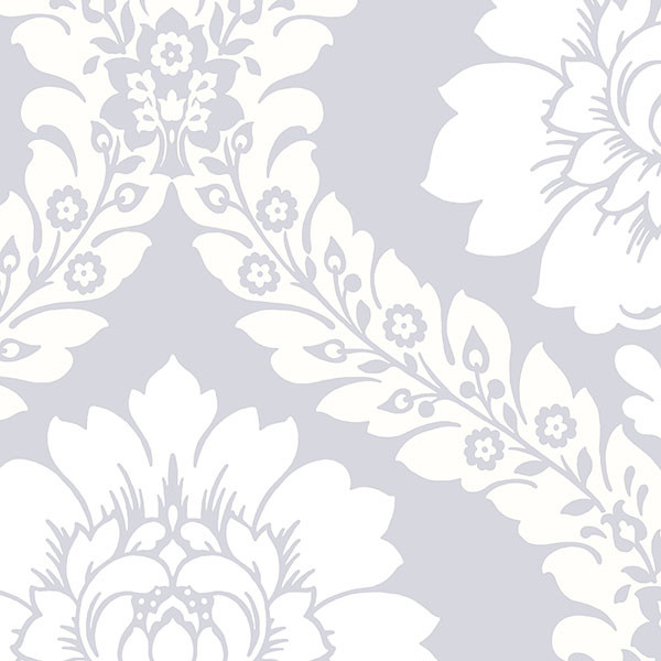 silver, cream and white damask wallcovering