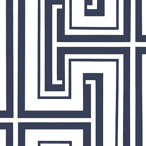 Navy and white geometric wallcovering