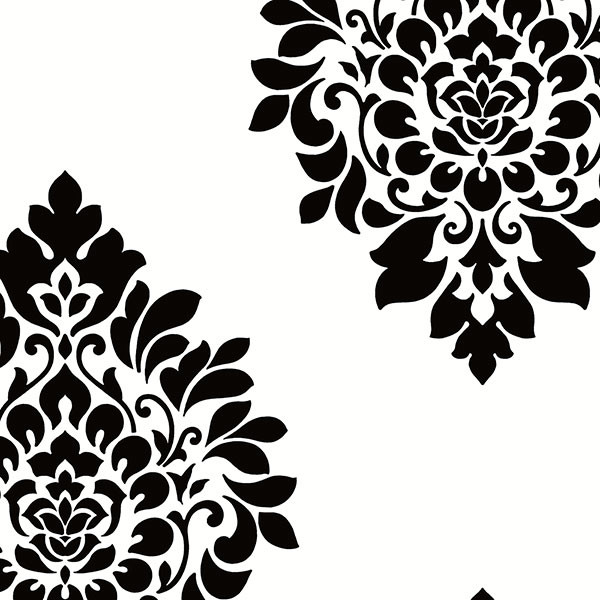 White and black damask wallcovering