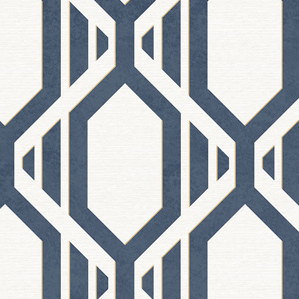 Navy and white with gold accents geometric wallcovering