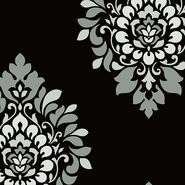 Black silver and grey damask wallcovering