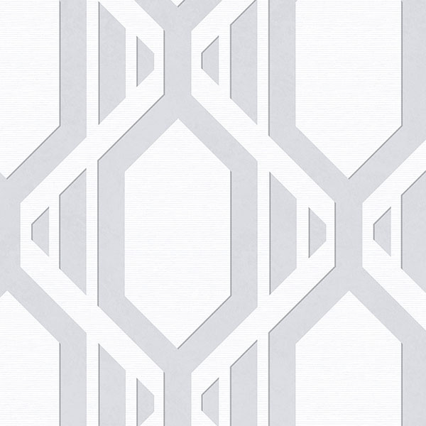 Grey and white with silver accents geometric wallcovering