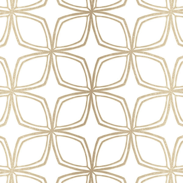 Taupe and white with gold accents geometric wallcovering