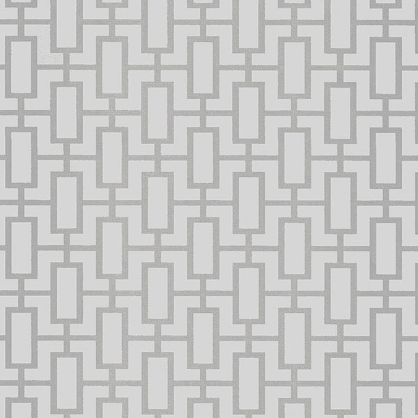Silver and light grey geometric wallcovering