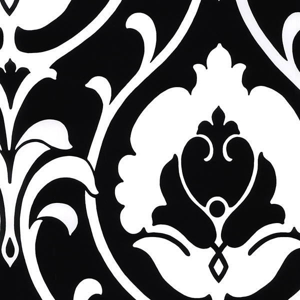Black and white damask wallcovering