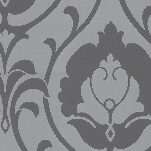 Silver and grey damask wallcovering