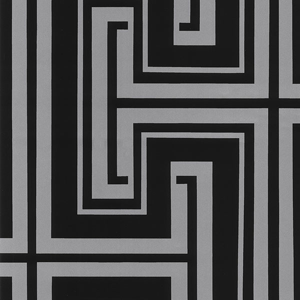 Silver and black geometric wallcovering