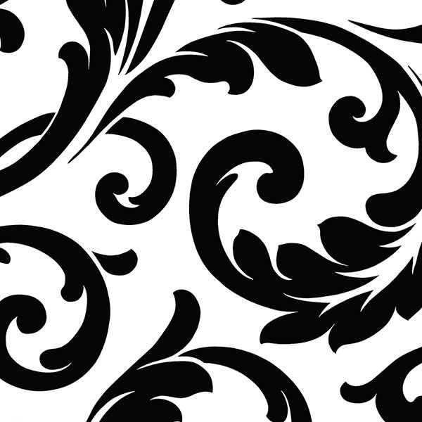Black and white scroll wallcovering