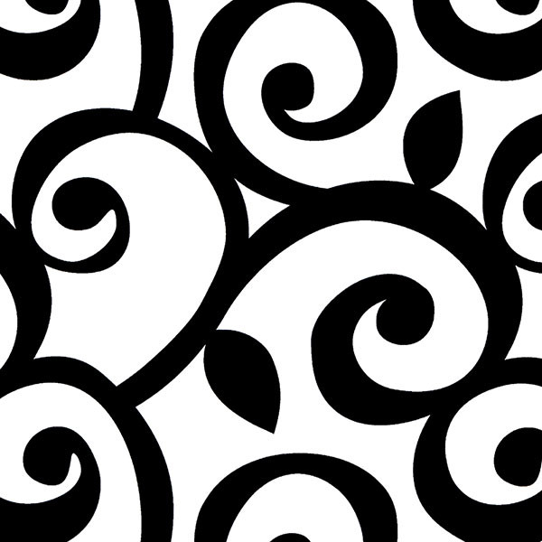 Black and white scroll wallcovering design